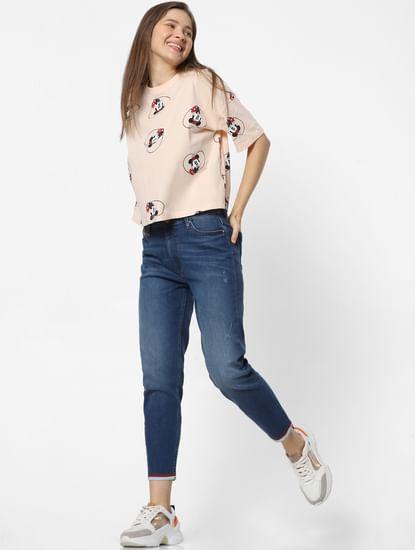 Blue Mid Rise Contrast Hem Straight Fit Jeans