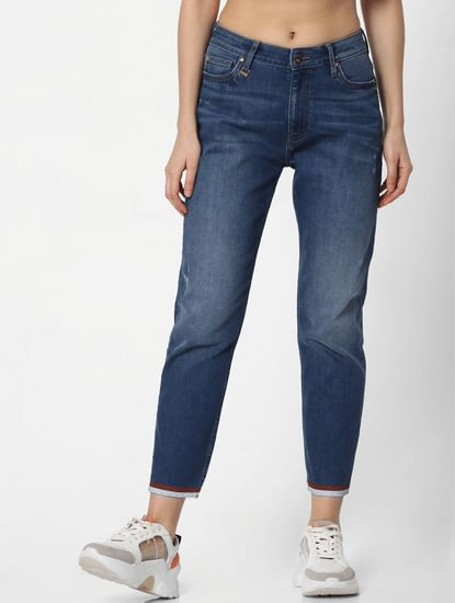 Blue Mid Rise Contrast Hem Straight Fit Jeans