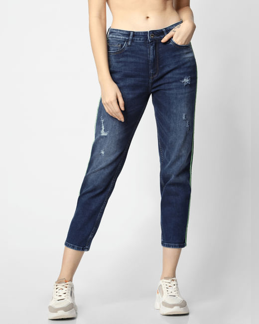 Blue Low Rise Tape Detail Straight Fit Jeans