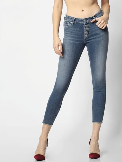 Blue Mid Rise Buttoned Fly Skinny Fit Jeans