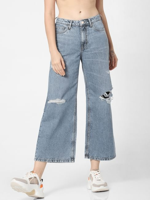 Light Blue Mid Rise Ripped Wide Leg Jeans