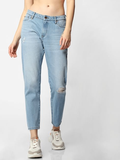 Blue Mid Rise Ice Washed Boyfriend Jeans