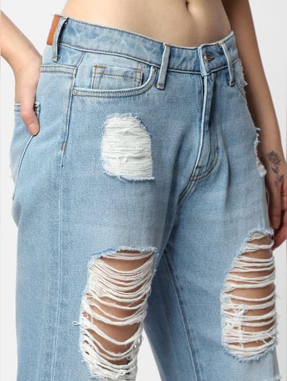 Blue Mid Rise Ripped Boyfriend Jeans