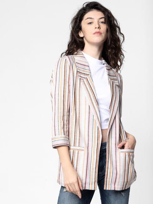 Pink Striped Loose Fit Blazer