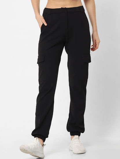 Black Mid Rise Relaxed Fit Pants