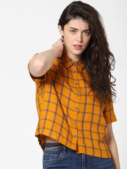 Orange Check Cropped Shirt