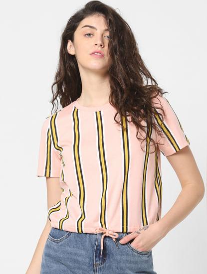 Pink Striped Drawstring Top