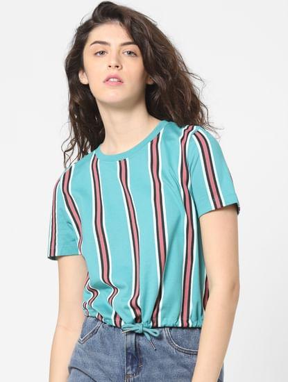 Blue Striped Drawstring Top