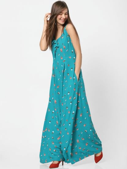 Blue Floral Print Flared Jumpsuit