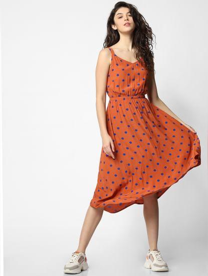 Brown Polka Dot Print Midi Dress