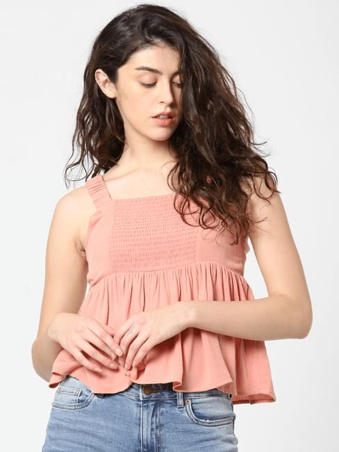 Nude Flared Top