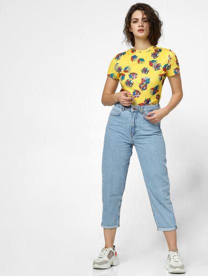 Yellow Rubik's Cube Print T-shirt