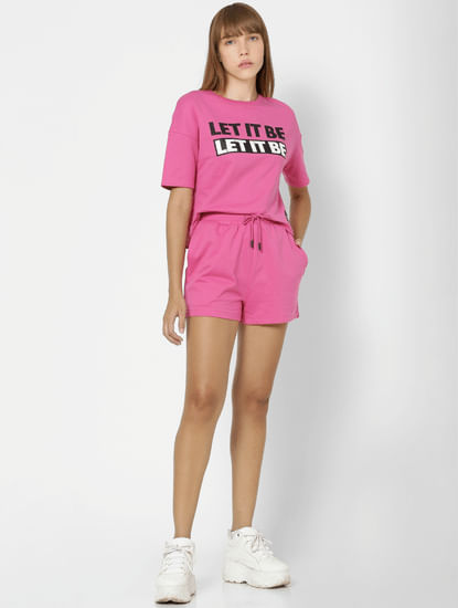 X The Beatles Pink Mid Rise Sweatshorts