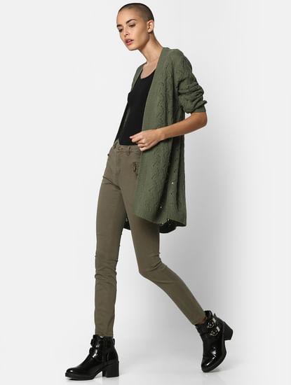 Green Textured Cardigan