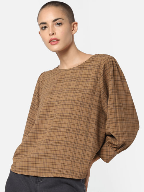 Brown Check Top