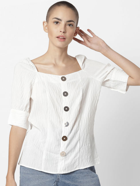 White Button Detail Top