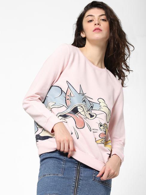 X TOM & JERRY Pink Graphic Print Sweatshirt