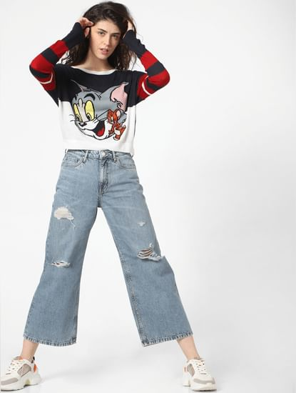 X TOM & JERRY Blue Graphic Print Pullover