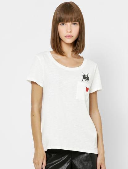 White Graphic Print Pocket T-shirt