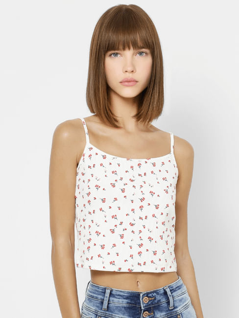 White All Over Print Sleeveless Crop Top