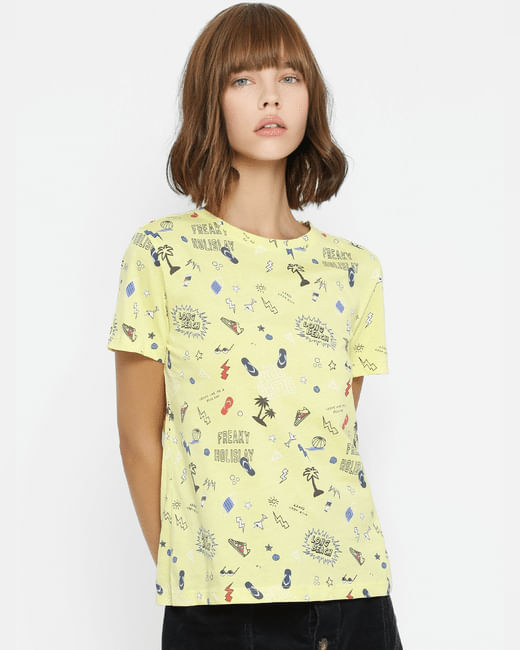 Yellow All Over Graphic Print T-shirt