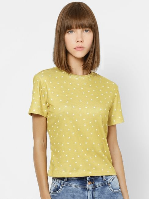 Yellow All Over Heart Print Top