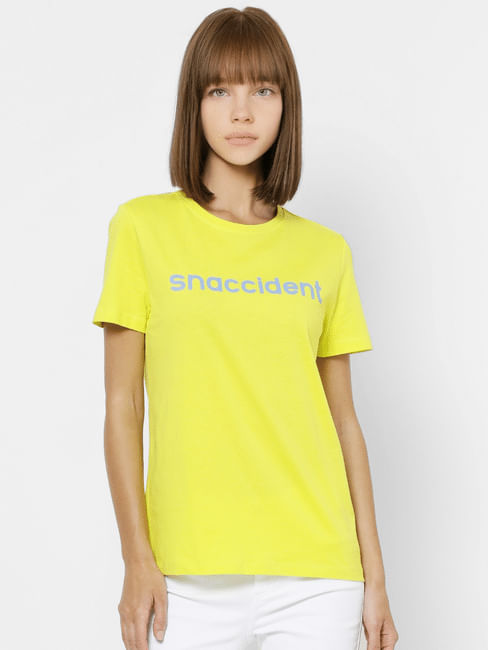 Yellow Snaccident Text Print T-shirt