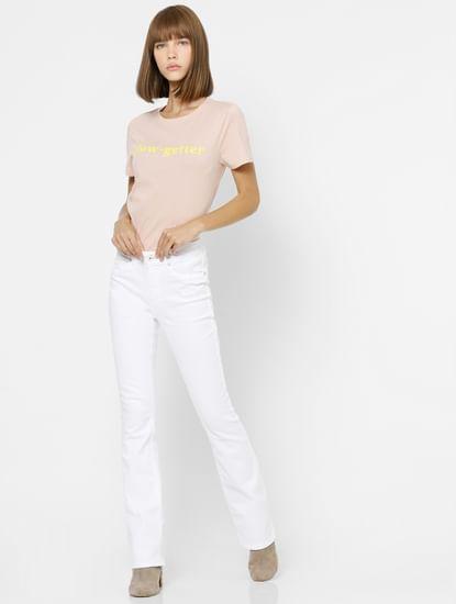 Light Pink Glow-Getter Text Print T-shirt