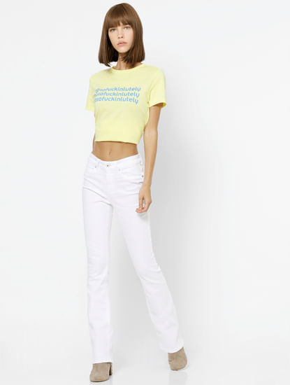 Light Yellow Text Print T-shirt
