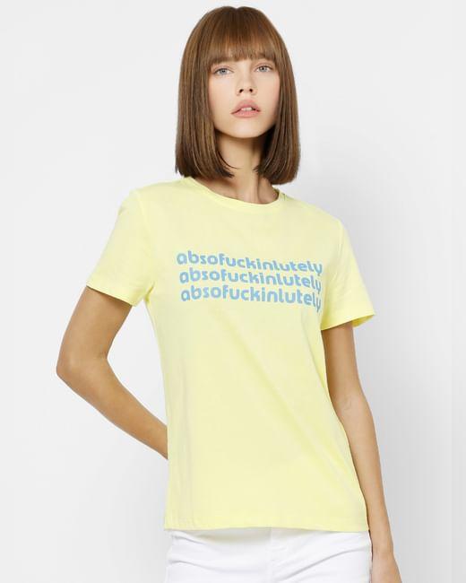Light Yellow Text Print T-shirt