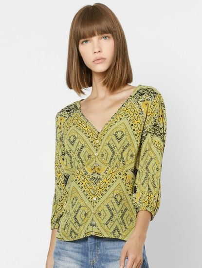 Green All Over Print V Neck Top