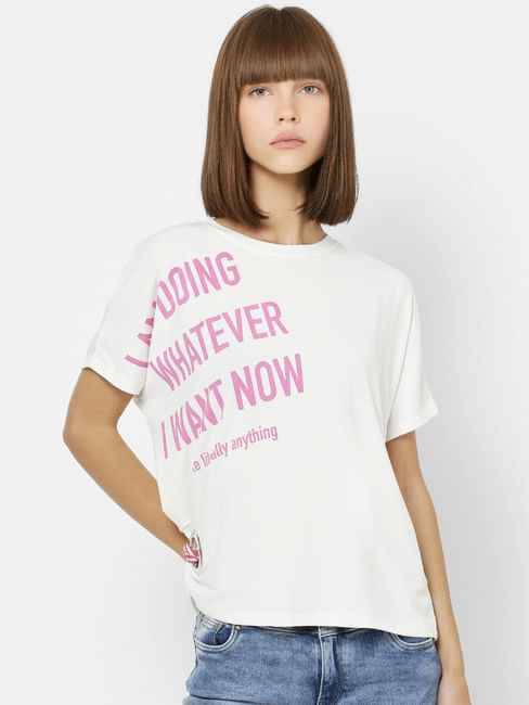 White Placement Text Print T-shirt