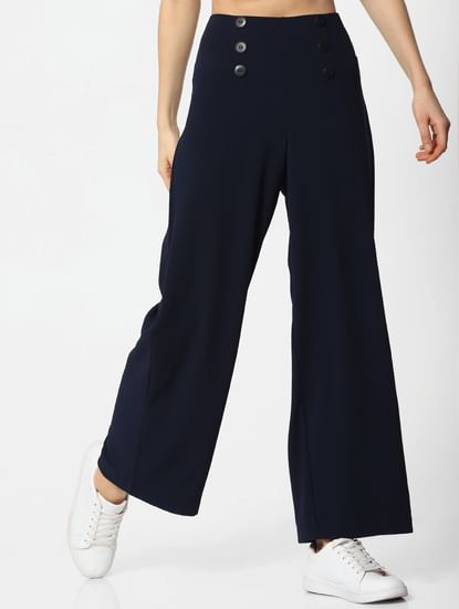Navy Blue Mid Rise Flared Sailor Pants