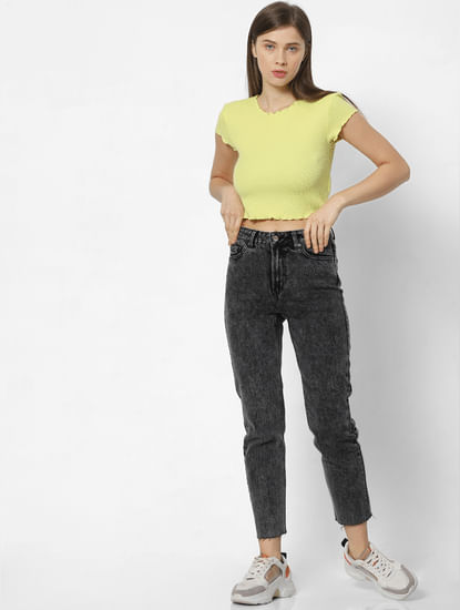 Black High Rise Acid Washed Straight Fit Jeans