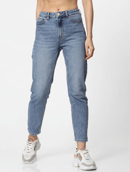 Light Blue High Rise Washed Straight Fit Jeans