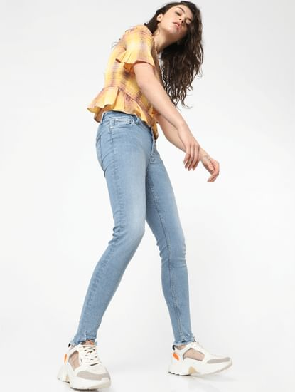 Light Blue Mid Rise Washed Skinny Jeans