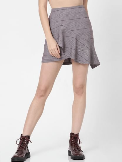 Brown High Rise Check Skirt