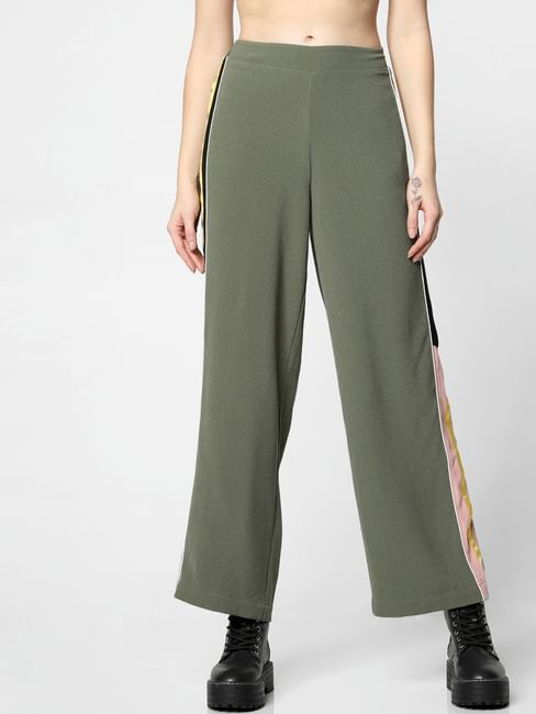 Green Mid Rise Tape Detail Pants