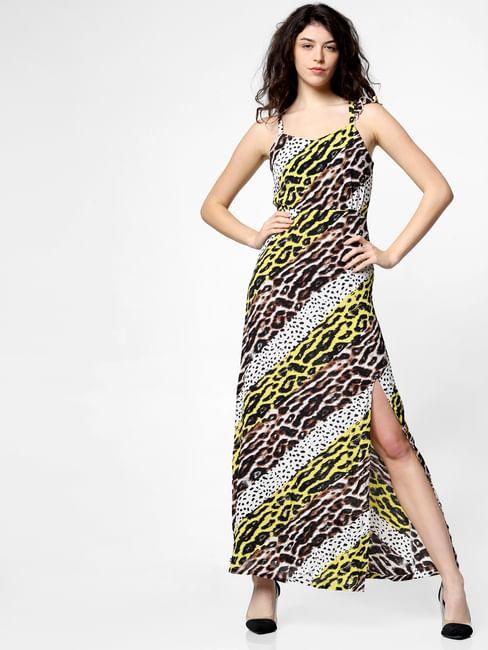White Animal Print Maxi Dress