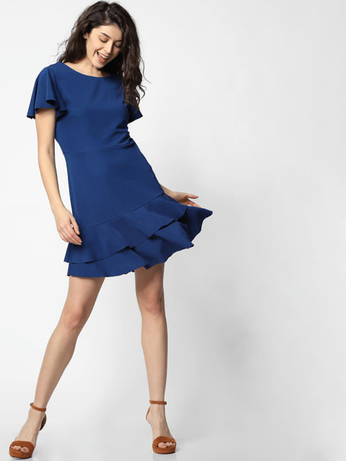 Blue Tiered Fit & Flare Dress