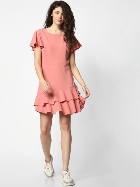 Pink Tiered Fit & Flare Dress