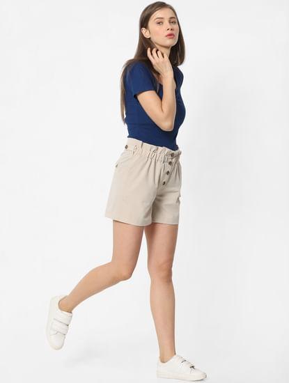 Beige Paperbag Waist Shorts