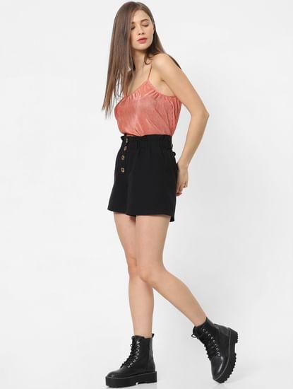 Black Paperbag Waist Shorts