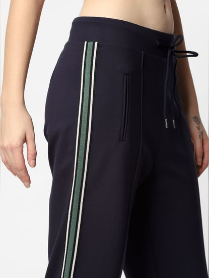 Navy Blue Mid Rise Tape Detail Pants