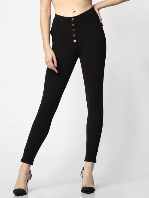 Black High Rise Slim Fit Leggings