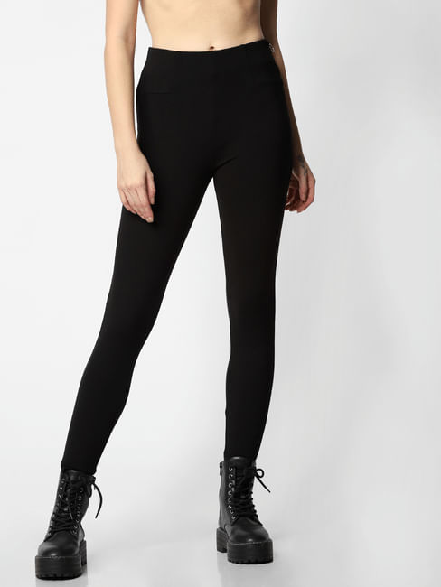 Black High Rise Side Zip Slim Fit Leggings