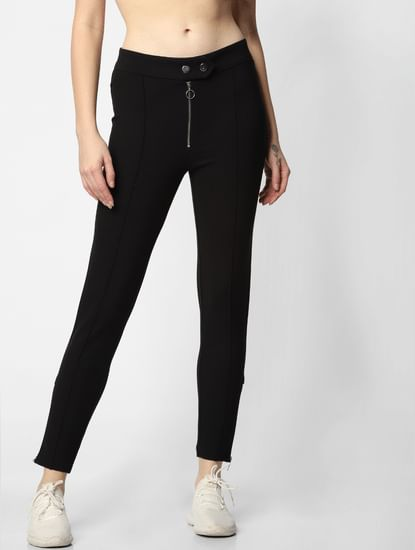 Black Mid Rise Zip Up Slim Fit Leggings