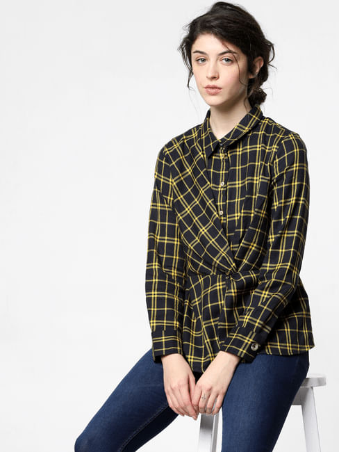 Yellow Check Twist Shirt