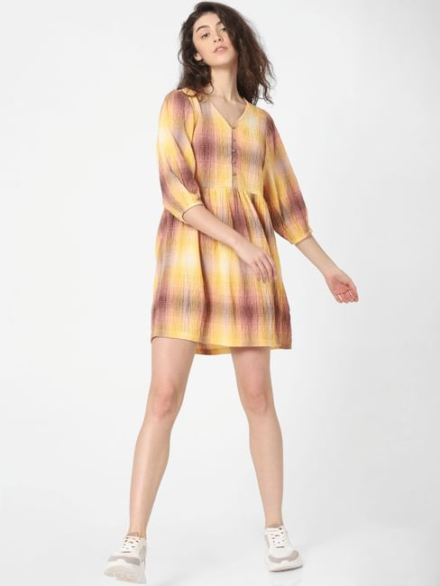 Yellow Check Mini Dress