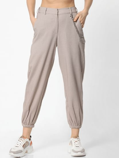Beige Check Slip-On Joggers